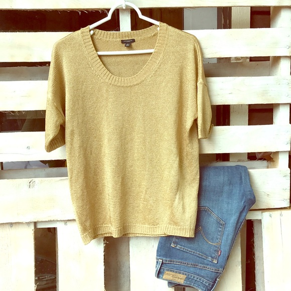 83% off Ann Taylor Sweaters - Ann Taylor gold short sleeve sweater ...