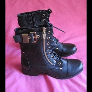 G by Guess Shoes - Majestic Black Combat Boots W/Gold Buckle & Zipper
