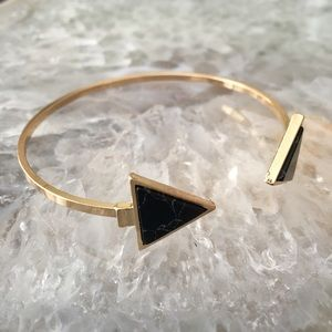 Minimalist Chic Marble Triangle Gold Cuff Bracelet