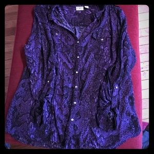 Cato Tops - Purple snake print 100% rayon blouse with snaps