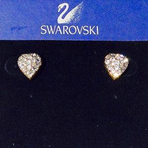 Swarovski Jewelry - VINTAGE SWAROVSKI Pave Heart Shaped Earrings.