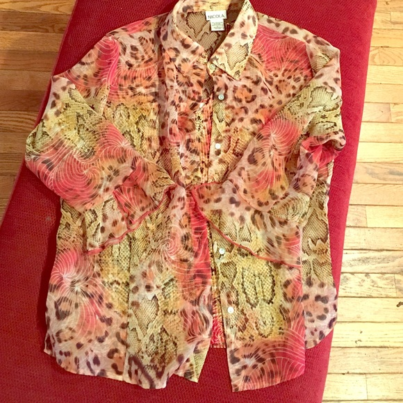 Tops - Fabulous animal print sheer blouse matching tank
