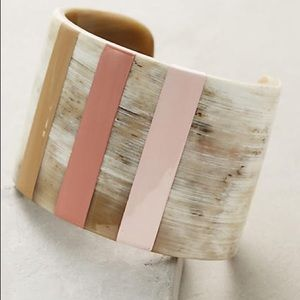 Anthropologie Jewelry - Anthropologie Horn Stripe Painted Cuff