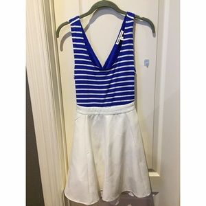 Blue and White Dress (open back cut out)