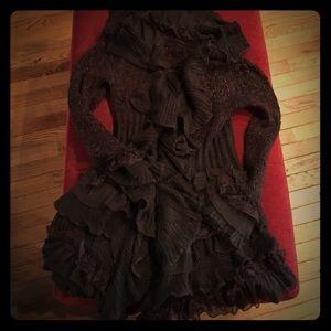 Sweaters - Ruffled feminine cut brown sweater cardigan long