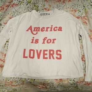 "The Laundry Room Tops - ""America is for LOVERS"" long sleeve tee"