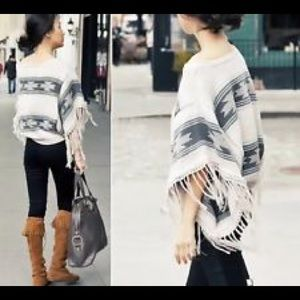 Topshop Sweaters - Topshop Aztec Fringe Poncho