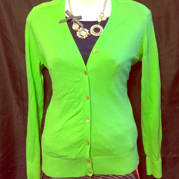 83% off J. Crew Sweaters - J. Crew Lime Green Cotton Cardigan ...