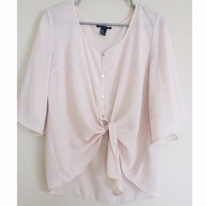 Forever 21 Flowy Tie Front Blouse
