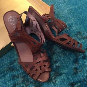 Brown leather Jeffrey Campbell wedge sandals
