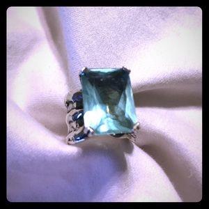 Silpada Jewelry - Silpada Chunky Aqua Blue Glass Cocktail Ring