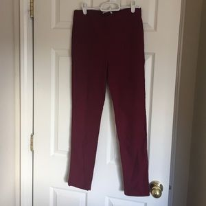 Wine/red straight leg, skinny pant