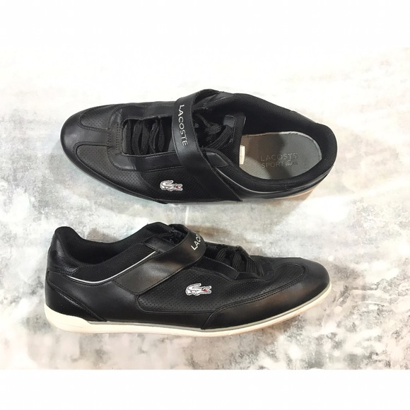 579d2a8ed5084f Lacoste Other - Lacoste Men s Black Leather Sneakers Velcro Strap
