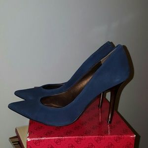 Guess Shoes - Guess Dark blue suede bronze heels size 8
