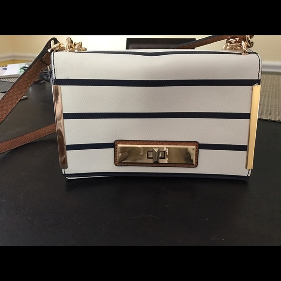 a21fc86bb9 Handbags - Aldo white and navy striped purse