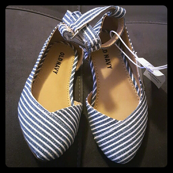 Blue and white toddler  girls  flats