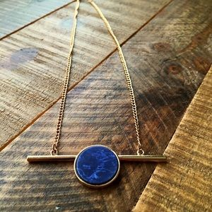 Jewelry - Brand new gold necklace w/ blue faux marble stone