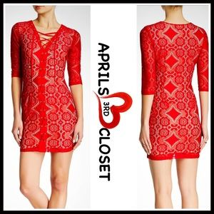 Boutique Dresses & Skirts - RED DRESS Lace Pattern Mini Dress