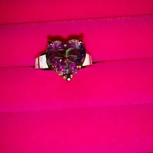 Amethyst heart ring with created opals sz 7