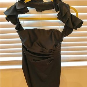 ABS satin black fitted dress