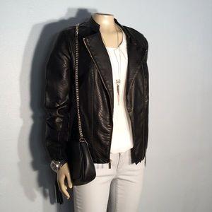 Calvin Klein snake print textured Moto jacket