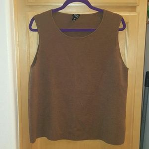 Eileen Fisher Tops - Eileen fisher xl brown knit tank top wool