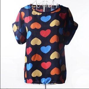 Tops - Boutique Style Multicolor Heart Top