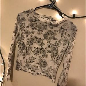 Floral Black and White Shirt Us2/4