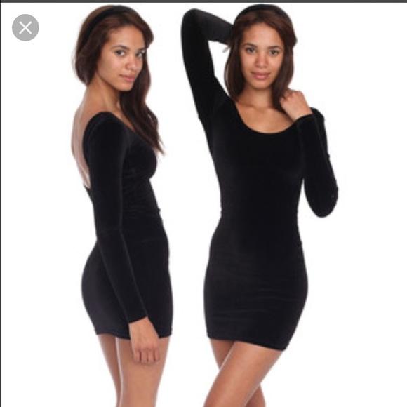 American Apparel Dresses Black Velvet Long Sleeve Tight Dress