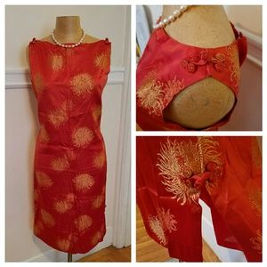 Hot number! Vintage Asian red satin cocktail dress