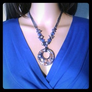 Beautiful Blue Glass Pendant Necklace