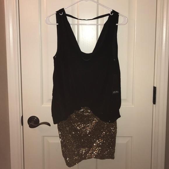 1af3f82b46307 AKIRA Dresses | Little Black And Gold New Years Eve Dress | Poshmark