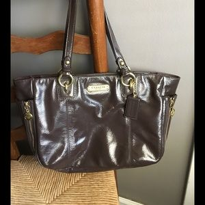 Coach Chocolate Patent leather tote
