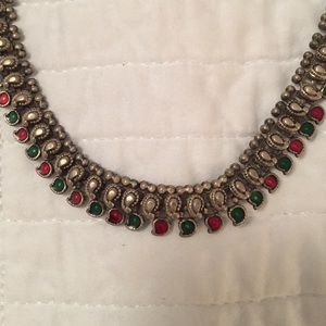 Vintage Indian silver necklace.