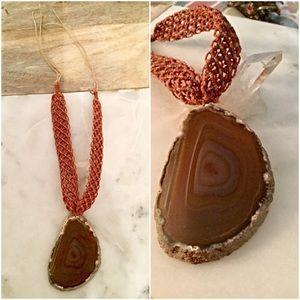 Free People Jewelry - Stunning Semiprecious Stone Necklace with Macrame