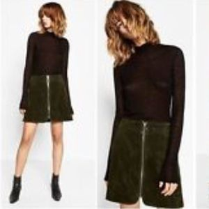 Urban Outfitters Dresses & Skirts - Vintage Olive Corduroy Zip Front Mini Skirt Sz 5