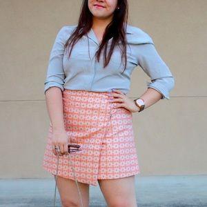 Jacquard Wrap Mini Skirt