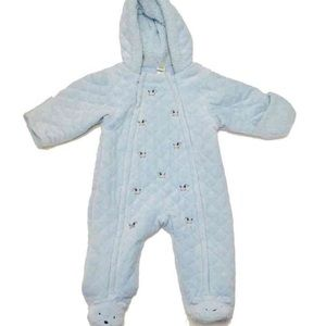 Little Me Other - Like new boys embroidered hooded bunting sz  6-9 m