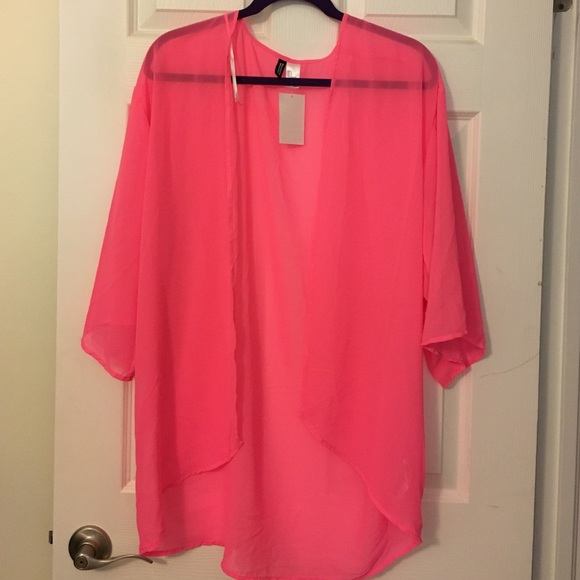 67% off H&M Tops - H&M Divided Hot Pink Kimono Cardigan. Size S ...