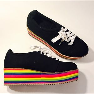 Shoes - Rainbow Platform Sneakers