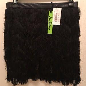 sam edelman black fringe midi skirt