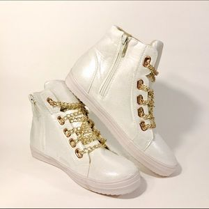 Shoes - High Top Chain Laced Sneakers