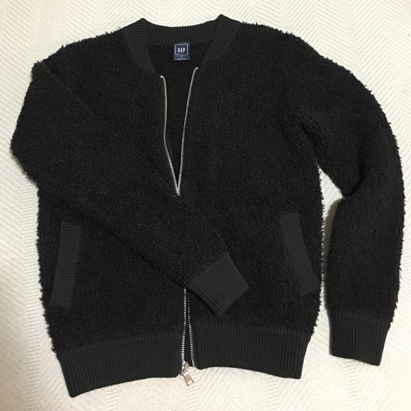 80% off GAP Jackets & Blazers - Gap Black texture zip bomber ...