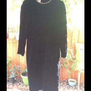 Women's Black Velvet Dress Vintage 90's Goth