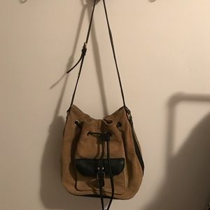 Zara Handbags - Zara suede olive and black bucket bag