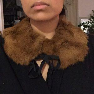 Vintage Accessories - Vintage fur stole Peter Pan collar velvet + ribbon