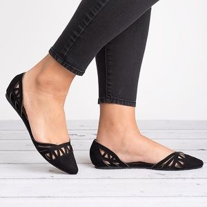 Miriam Cut Out Flats-Black