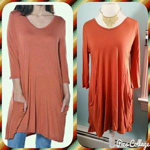 Pastels Clothing Tops - SALE! Rust Tunic w/Pockets