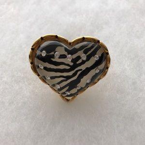 Betsey Johnson Jewelry - Betsy Johnson zebra printed heart ring