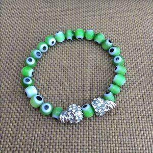 Handmade evil eye and skull bracelet